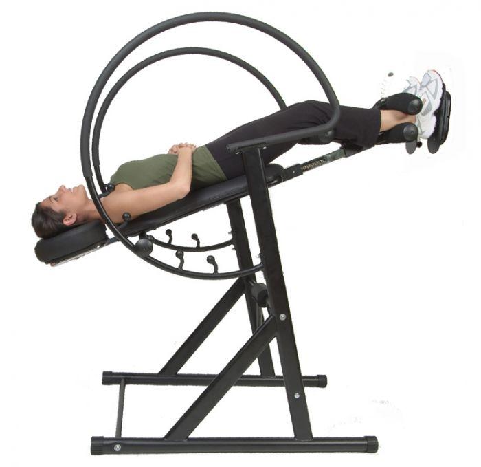 Attrayant Health Mark Pro Max Inversion Table Woman In Zero Gravity Position